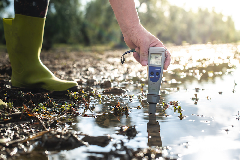 Measure water content with digital device. Sunrise over the water. PH meter.